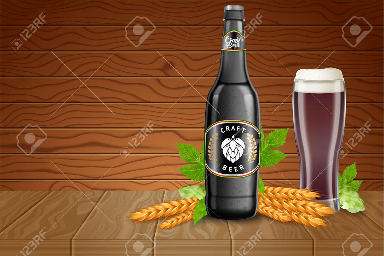 realistic beer products ad vector 3d illustration dark craftrealistic beer products ad vector 3d illustration dark craft beer bottle template design