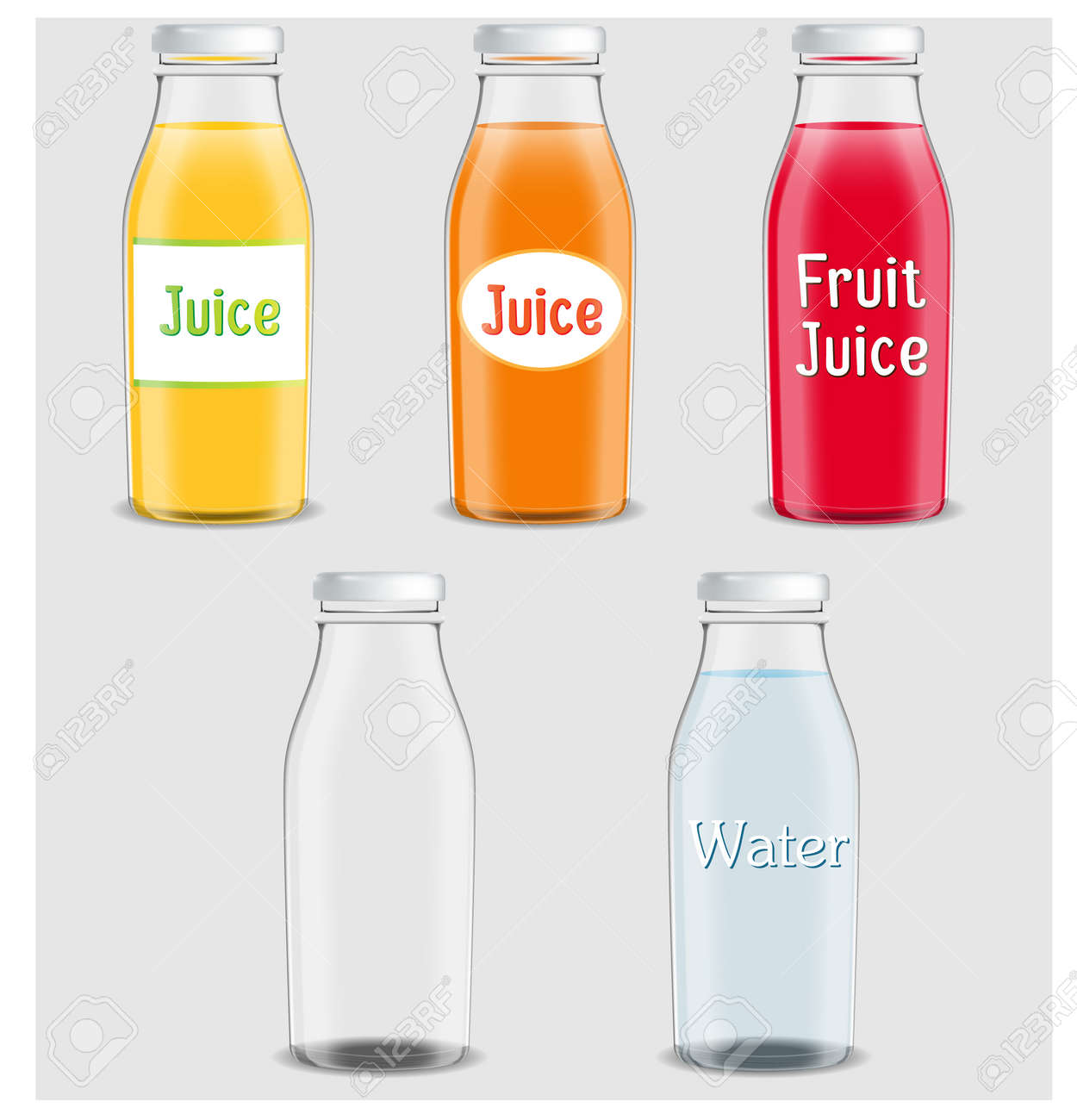 Juice products ad  Vector 3d illustration  Bottles template design
