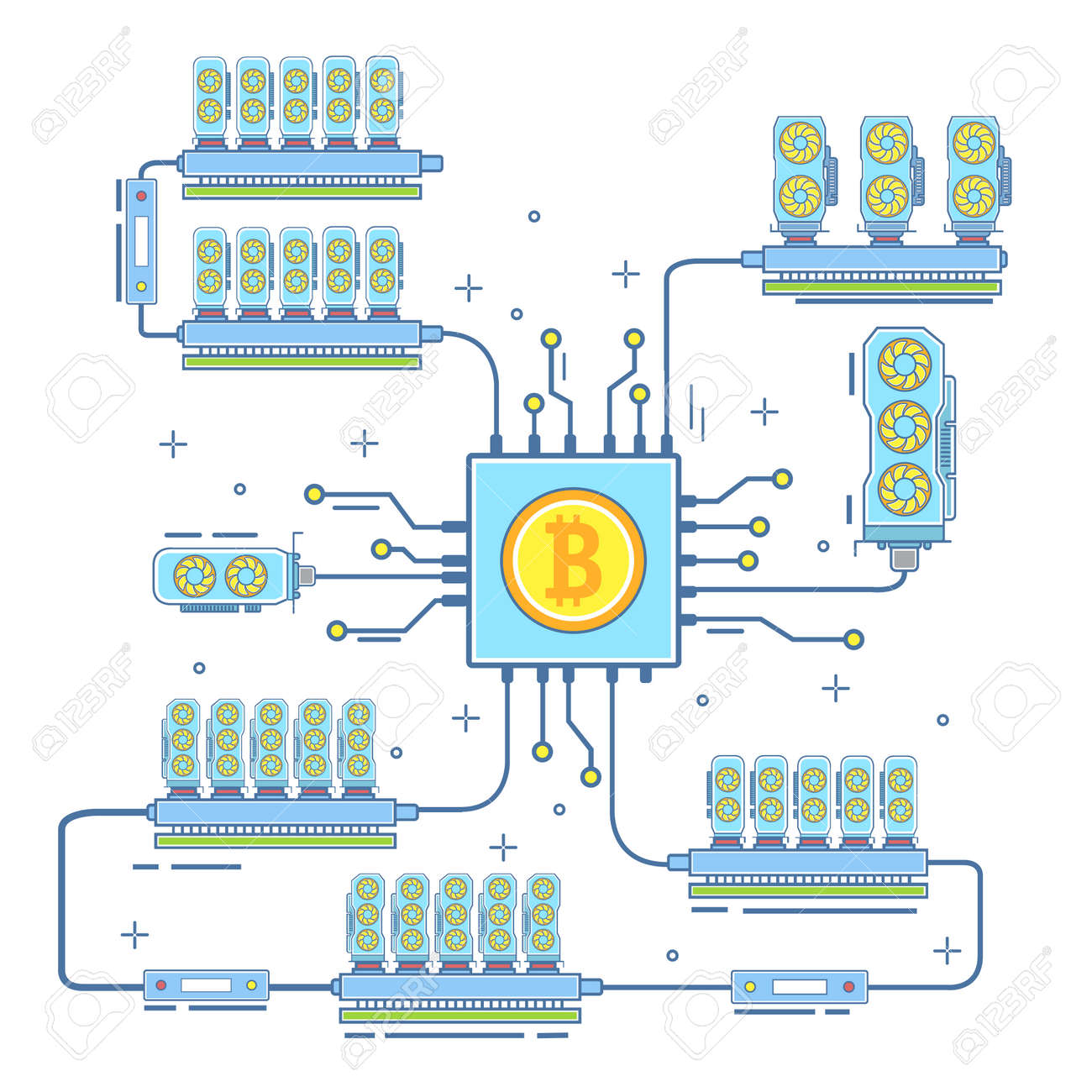 Bitcoin Farm Concept Vector Illustration Digital Currency Or Cryptocurrency Mining And Blockchain