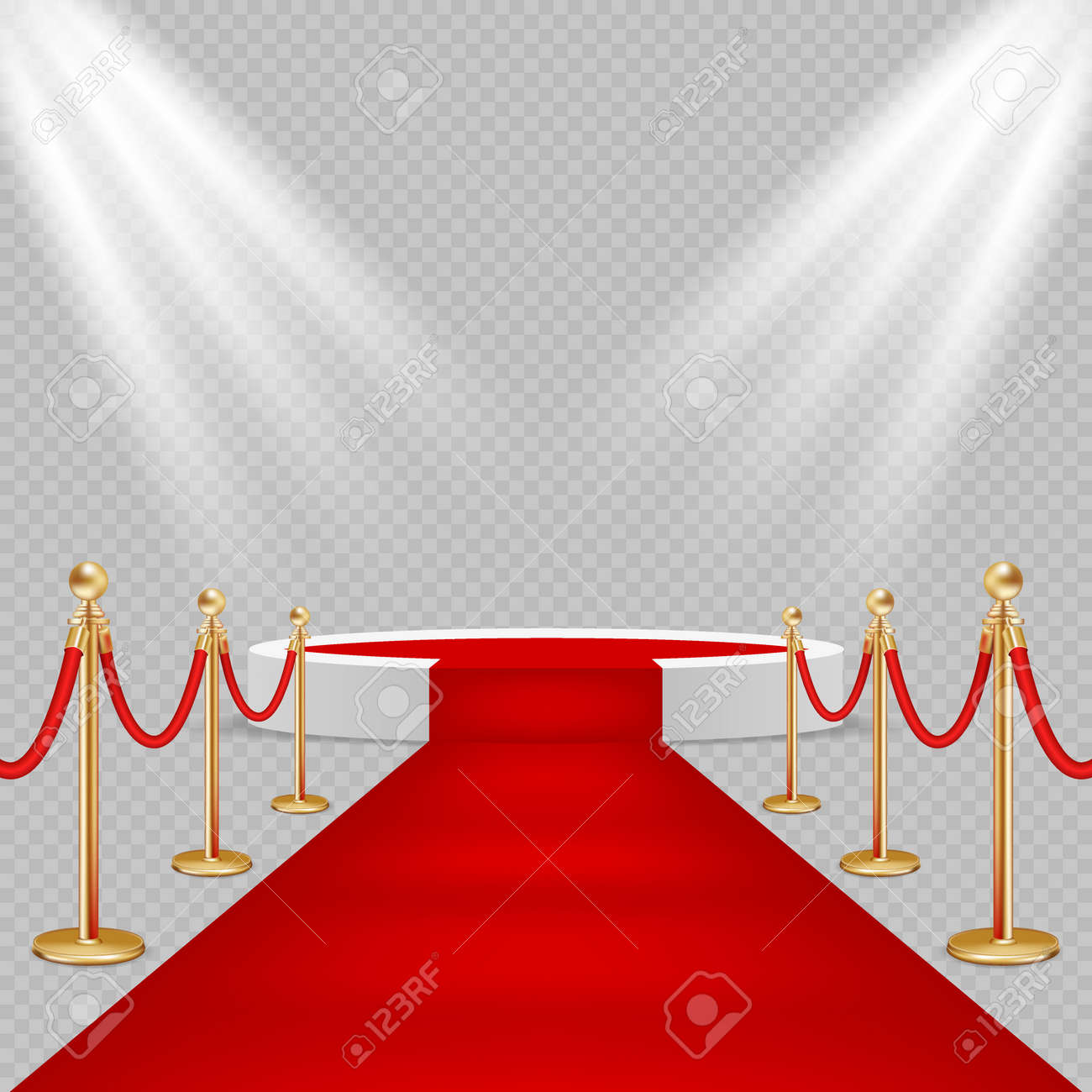 White round podium with red carpet vector realistic illustration - 88085653
