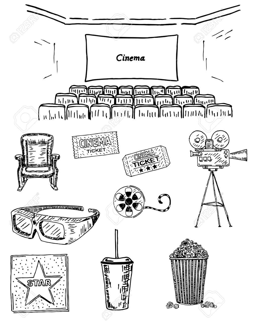Cinema Vector Hand Drawn Decorative Symbols Set