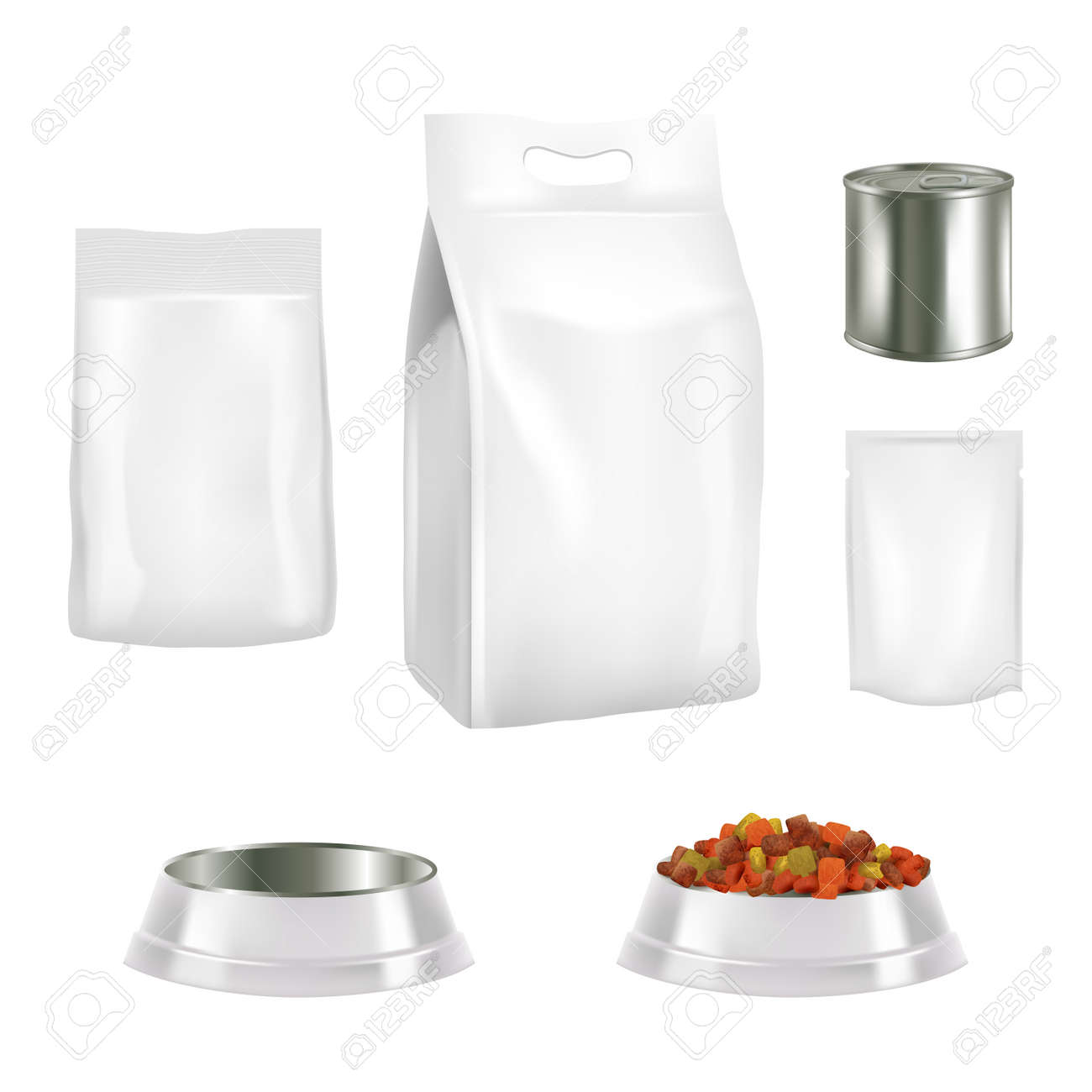 Vector set of dog food pack templates. - 95826546