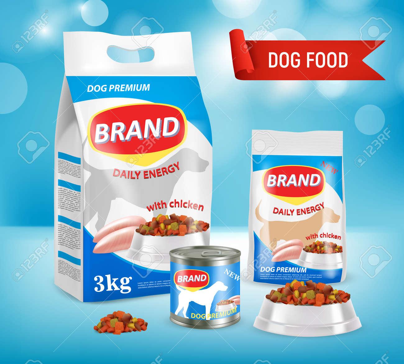 Dog food brand ad vector realistic illustration - 95826547