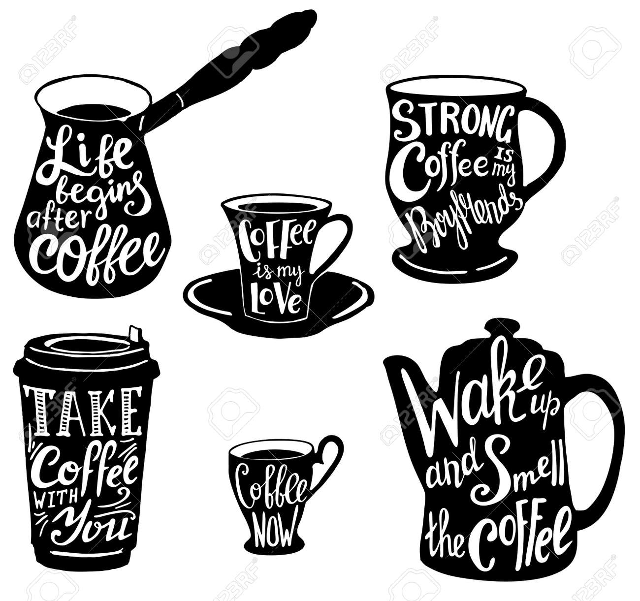 Vector Cute Coffee Quotes And Sayings Typography Set Royalty Free Cliparts Vectors And Stock Illustration Image 95970634