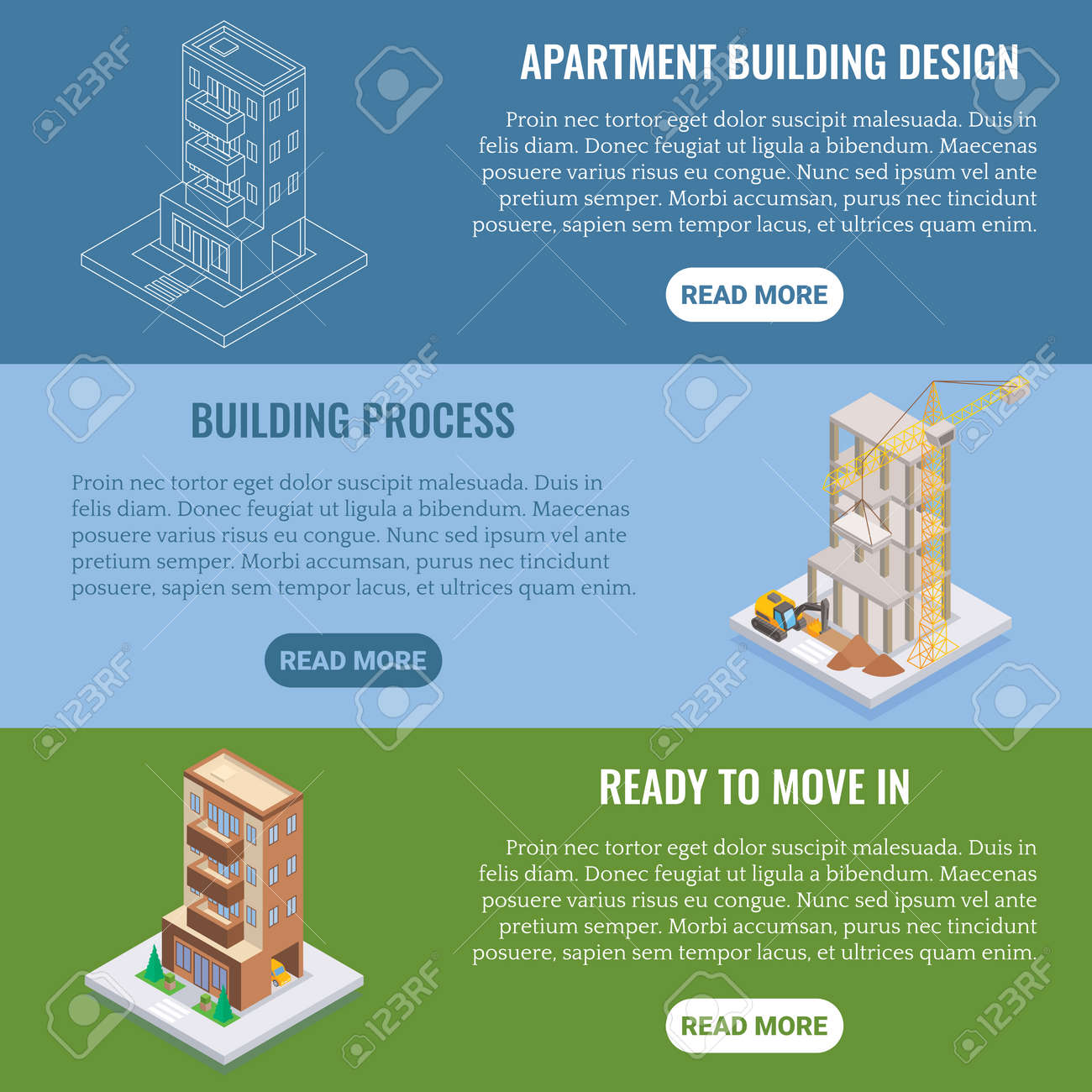 Apartment construction vector flat isometric horizontal banner..