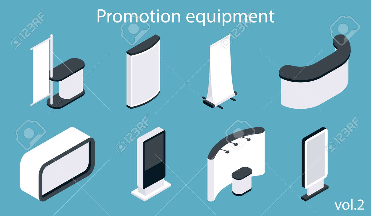 Exhibition Booth Icon : Promotion equipment vector icon set isometric white blank