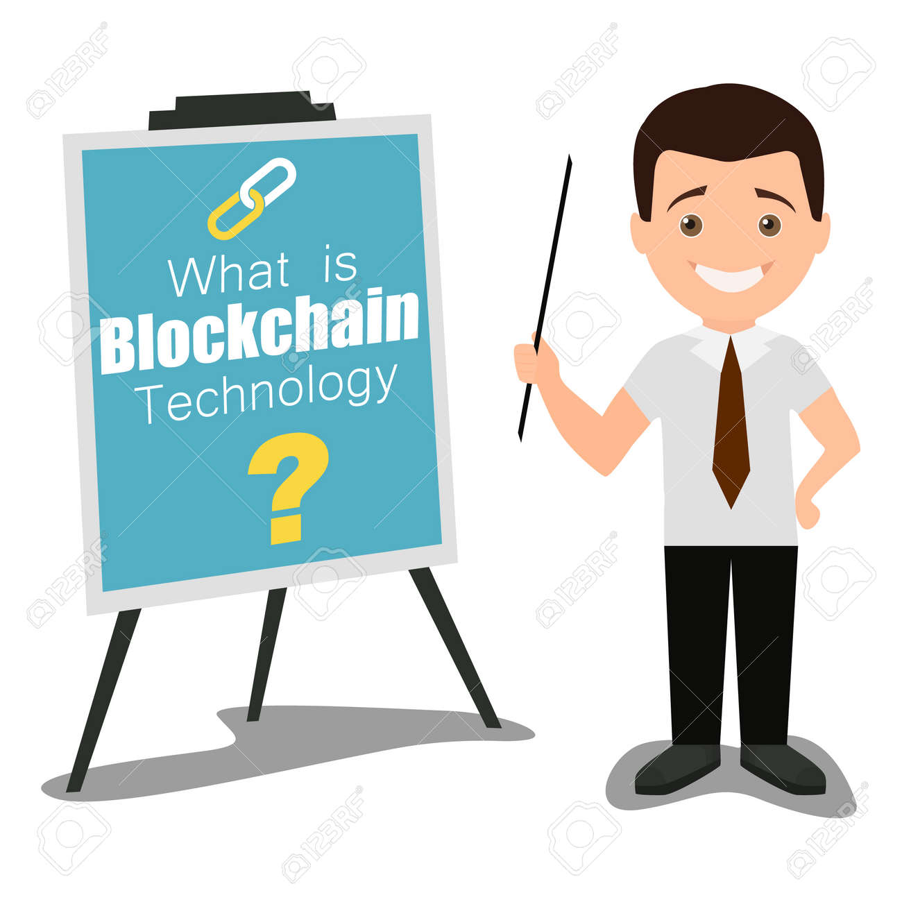 blockchain technology business presentation concept vector flat rh 123rf com