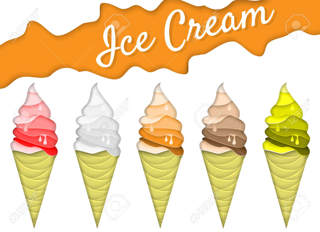 Ice cream cone icon set vector illustration in paper art style ice cream cone icon set vector illustration in paper art style origami melting ice maxwellsz