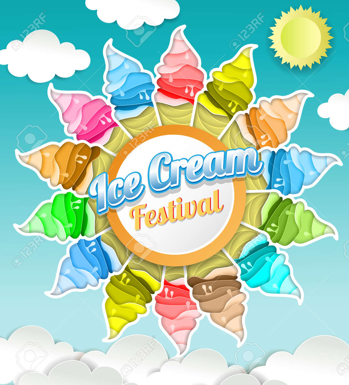Ice cream festival concept vector illustration of delicious ice cream festival concept vector illustration of delicious ice cream cones in paper art style stopboris Images