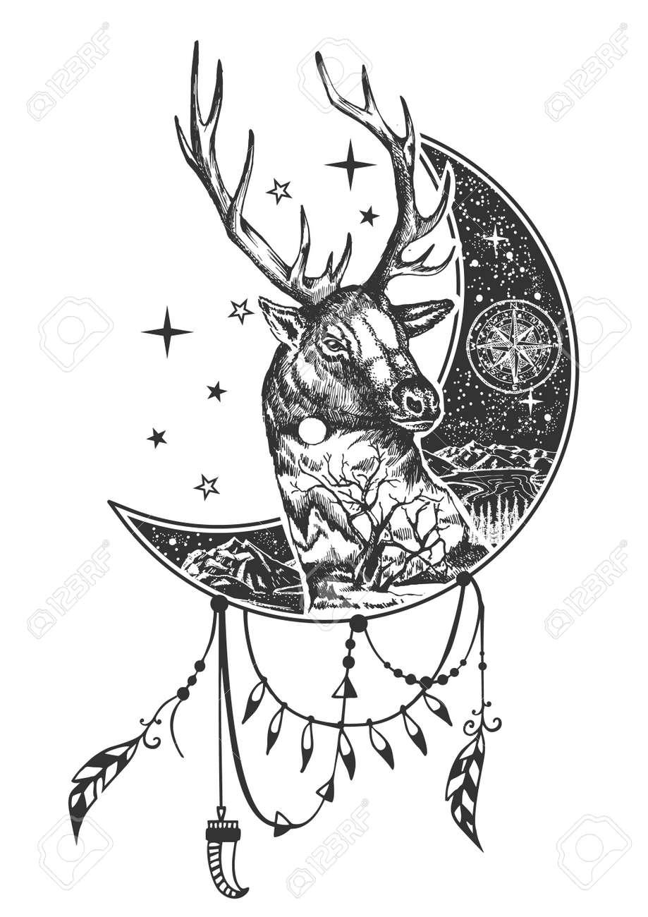 Vector Boho Deer Tattoo Or T Shirt Print Design Deer Head On