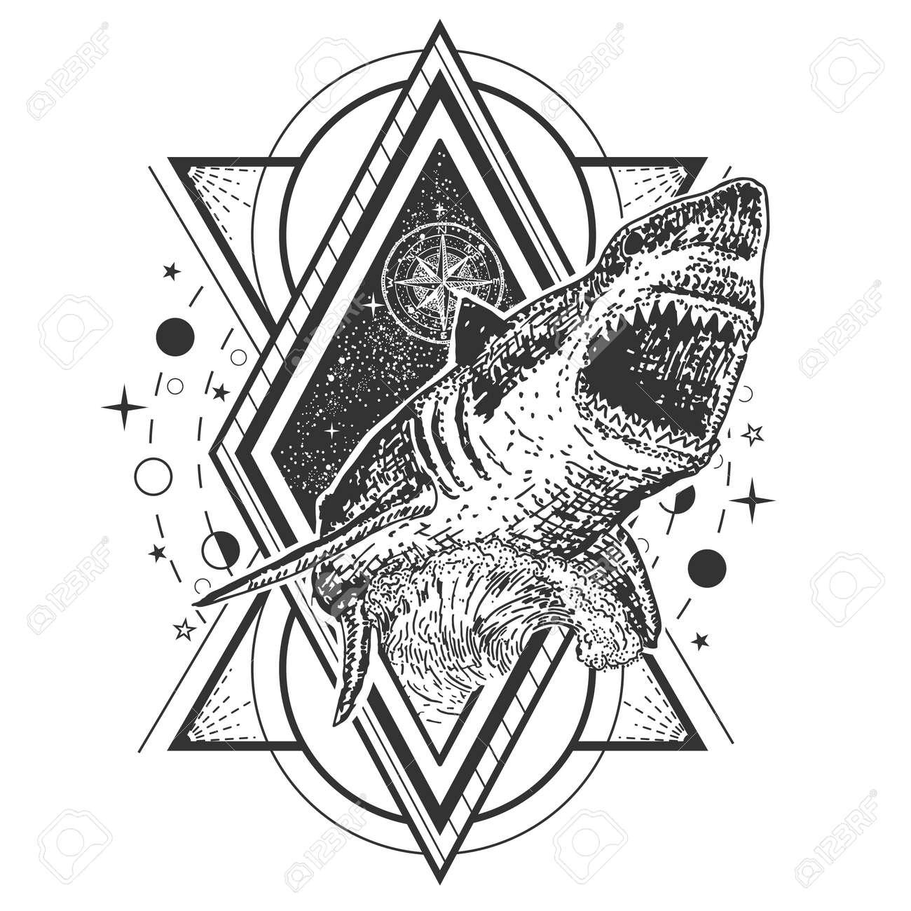 Vector Geometric Shark Tattoo Or T Shirt Print Design Shark