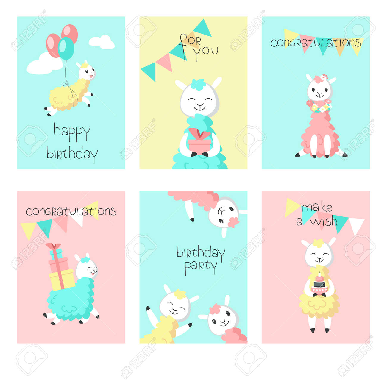 Cute Alpaca Birthday Greeting Cards Vector Hand Drawn Illustration Happy Card Templates For