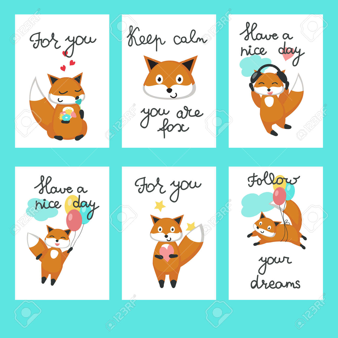 cute foxes cards vector template set with funny cartoon characters