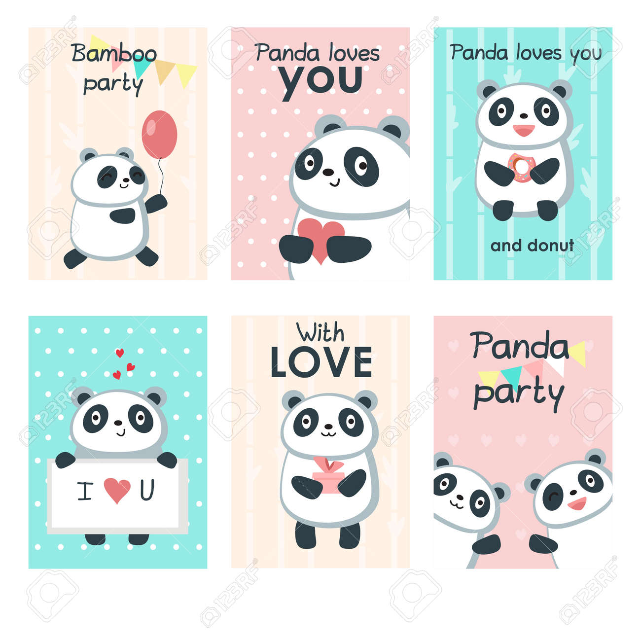 Cute Panda Party Invitation Cards. Vector Template Set With Funny ...