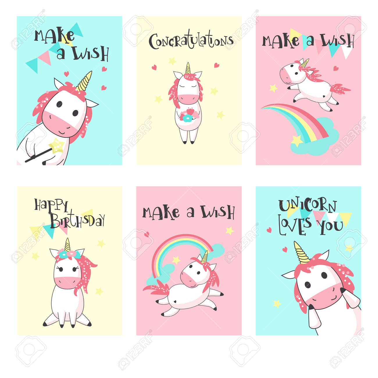 Magic Unicorn Birthday Greeting Cards Vector Hand Drawn