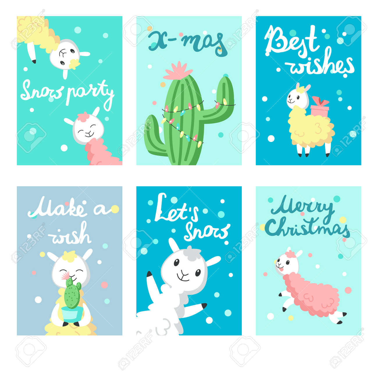 Cute Christmas Cards.Cute Alpaca Christmas Greeting Cards Merry Christmas Card Vector