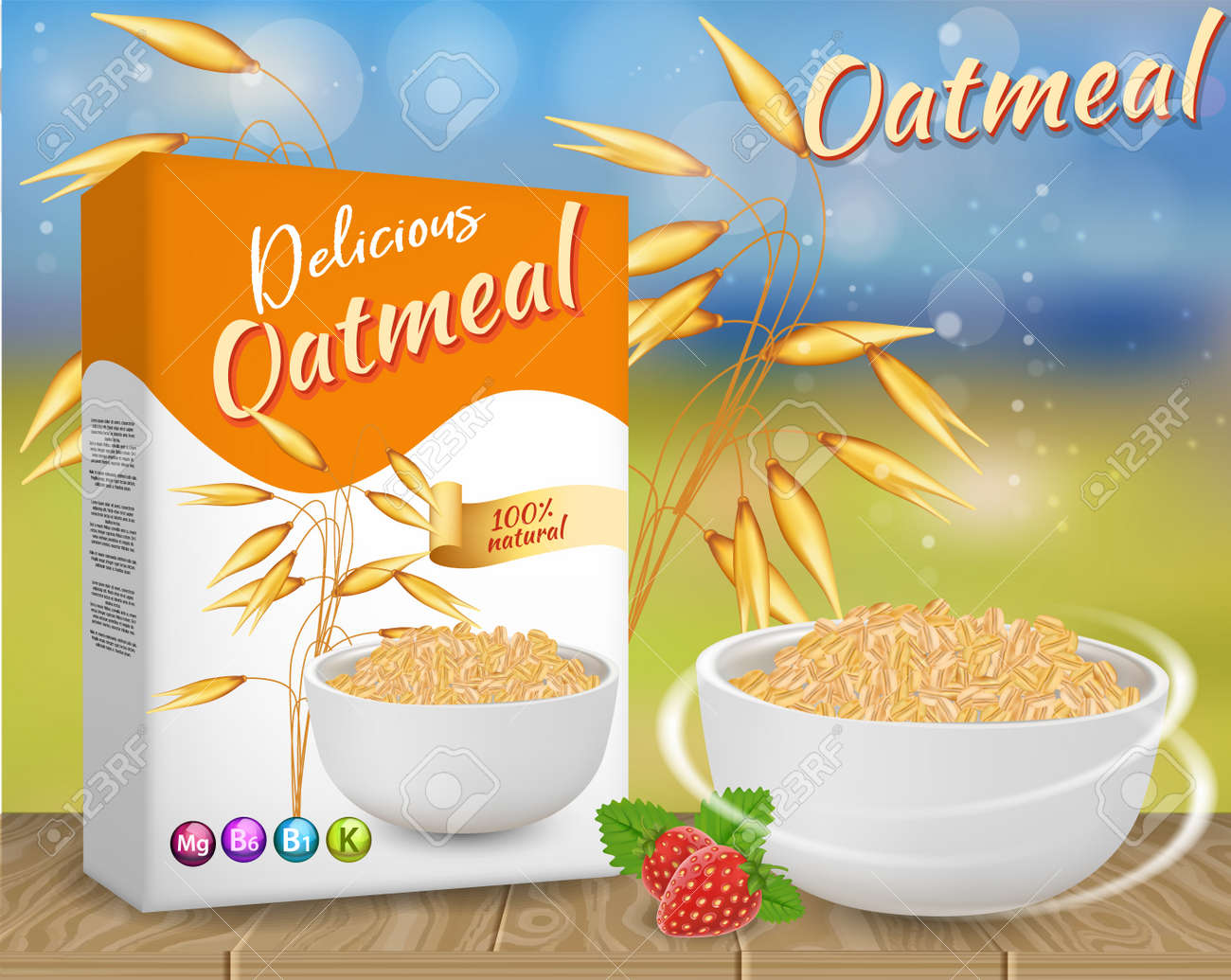 Oatmeal ads vector realistic illustration - 104142778