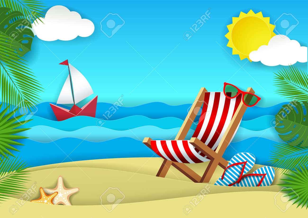 c28b6e991bc Summer beach vector paper cut illustration. Ocean beach with chaise lounge