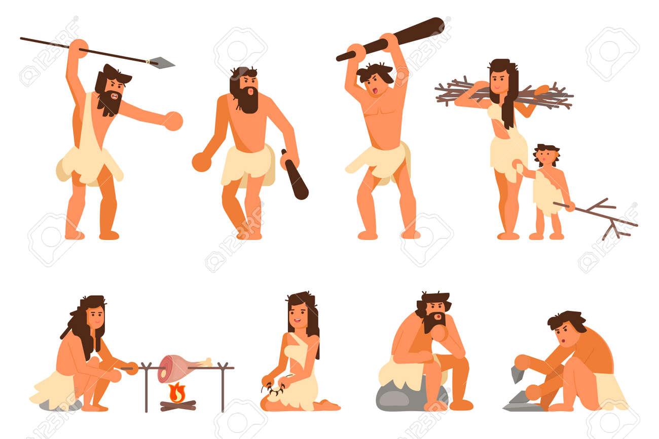 Stone age people icon set. Vector flat style design illustration of primitive people cavemen hunting, cooking, gathering brushwood, making stone tools isolated on white background. - 104382309