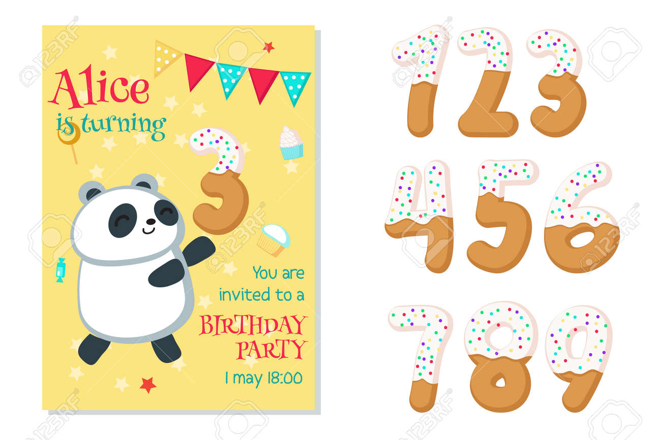 Birthday Party Invitation Card Template Numbers From One To Nine