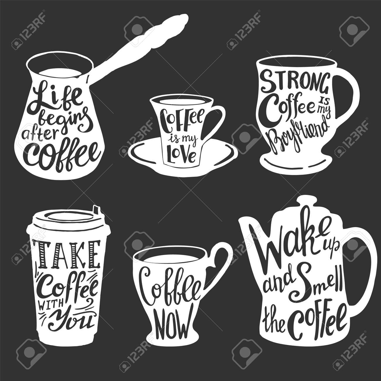 Vector Coffee Quotes And Sayings Typography Set Royalty Free Cliparts Vectors And Stock Illustration Image 105164138