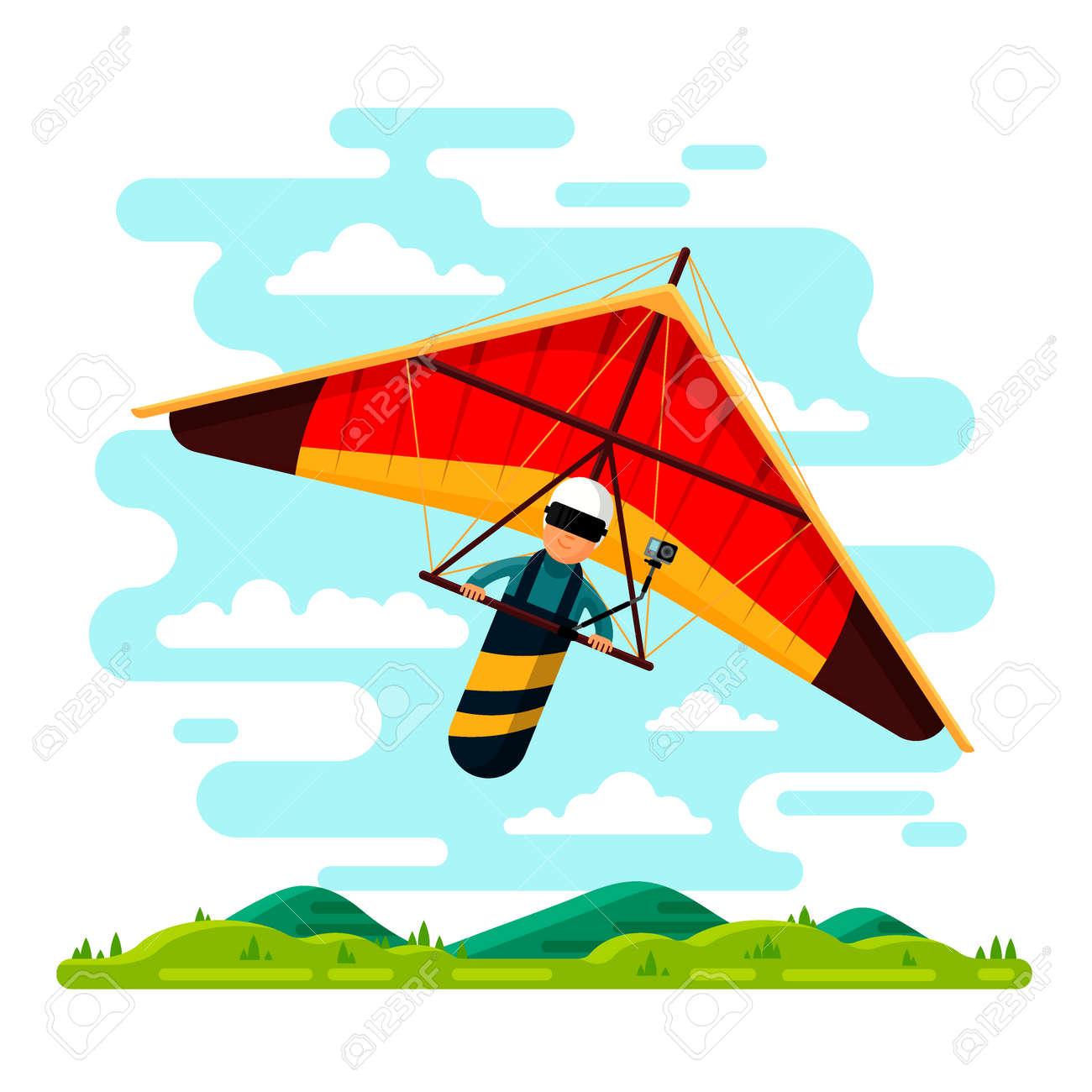 Man flying hang glider  Vector flat style design illustration