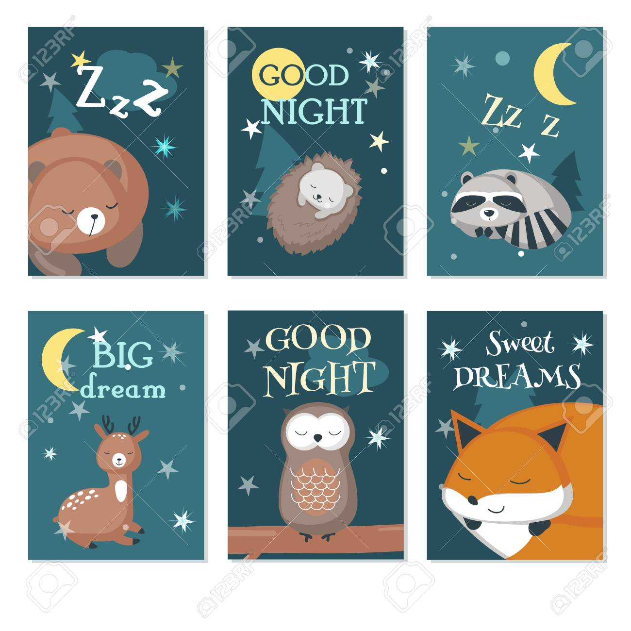 Vector set of cards with sleeping cute animals and handwritten quotations. Vector illustration of funny hedgehog, bear, deer, fox, owl raccoon with night sky landscape. - 109651160