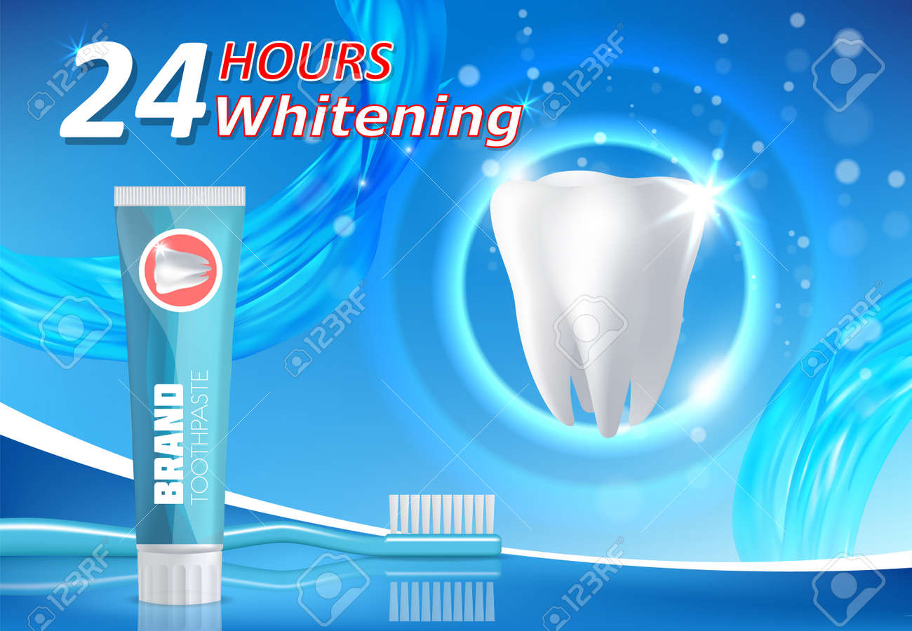 Whitening Toothpaste Ad Teeth Whitening Vector Poster Banner