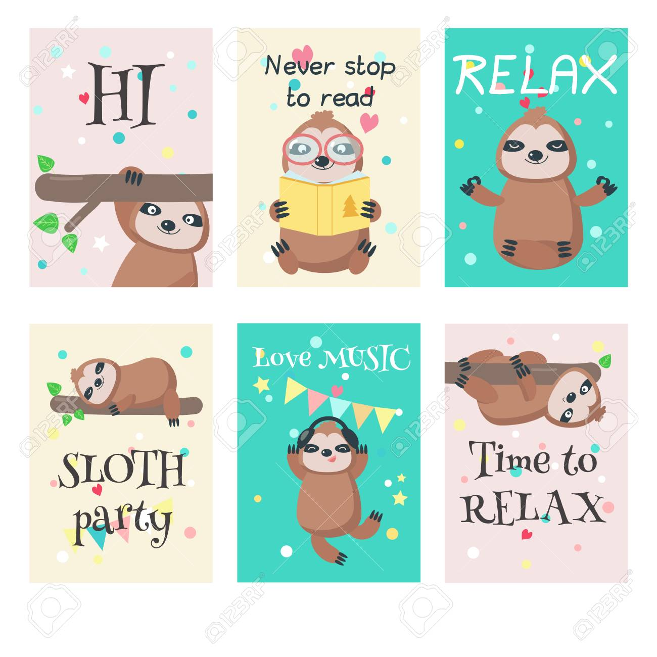 Vector set of cards with cute sloths and quotes. Lazy jungle..
