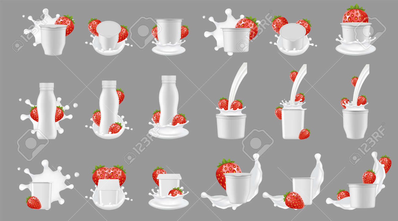 Strawberry yogurt package with splash mockup set. Vector realistic white blank plastic bottle cup container for dessert, yoghurt, fresh strawberry and milk splashing and pouring. - 124831144