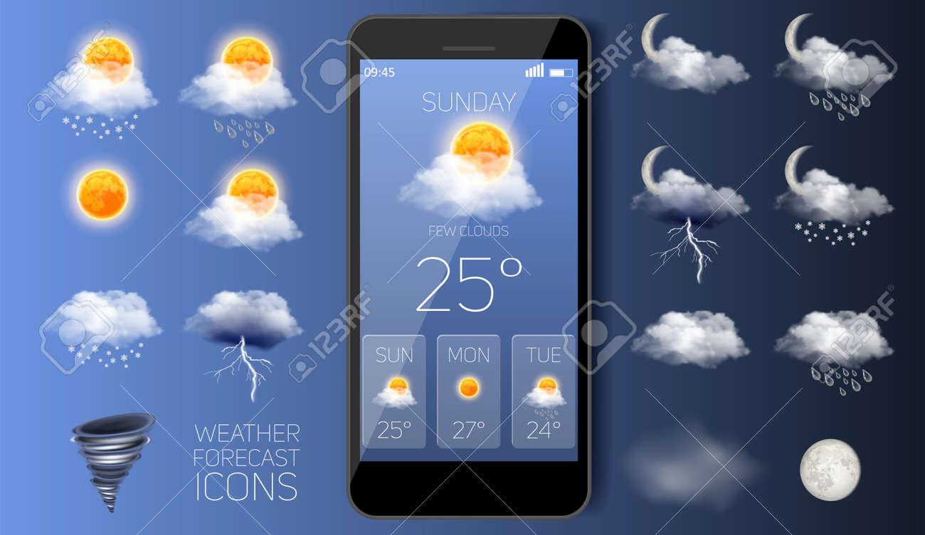 Weather forecast widget app vector realistic application