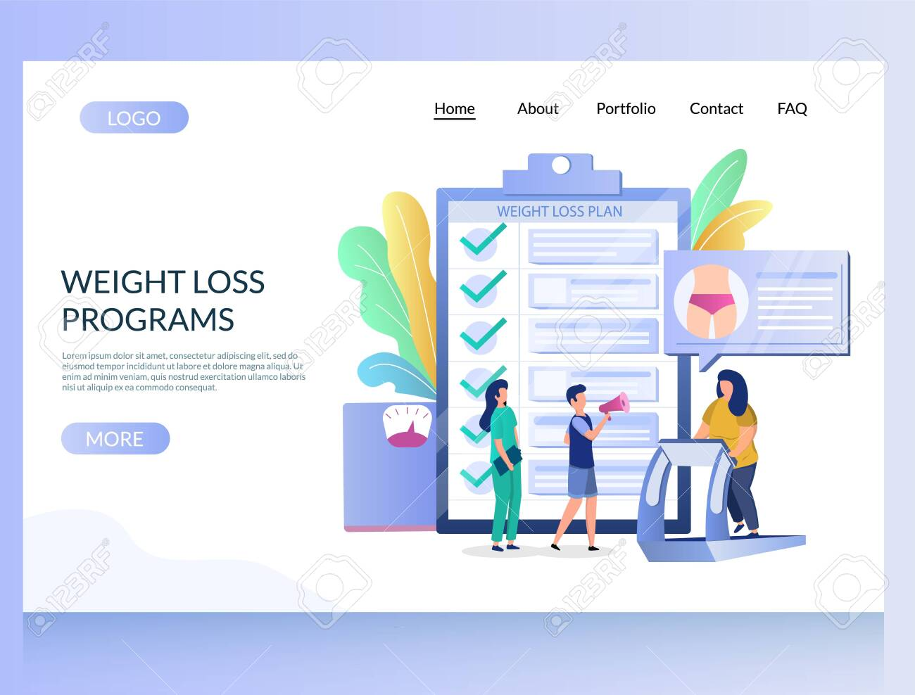 Lead gen weight loss squeeze page template with free landing page.
