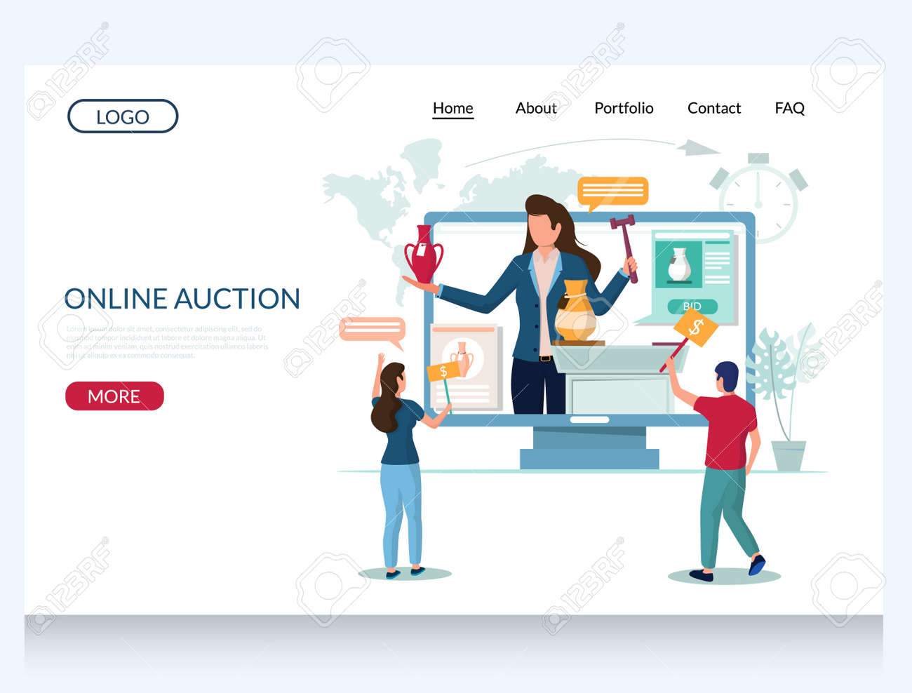 Online Auction Vector Website Template Web Page And Landing Royalty Free Cliparts Vectors And Stock Illustration Image 136037958