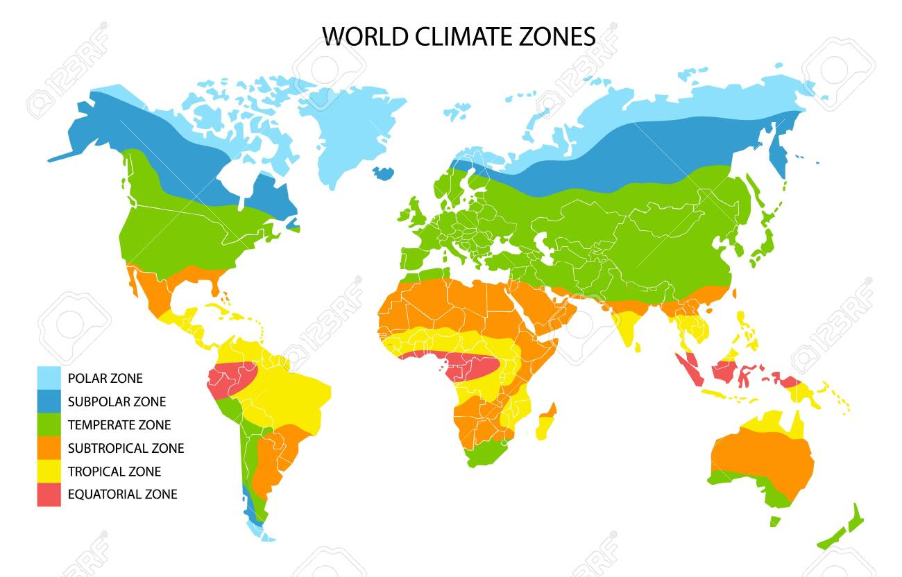 World climate zones, vector geographic infographics. Global climate map, geography science. - 139404287