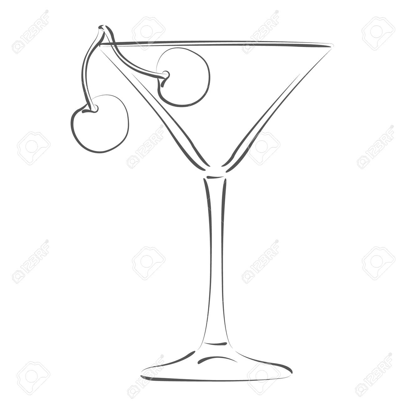 sketched glass of martini and cherry design template for label