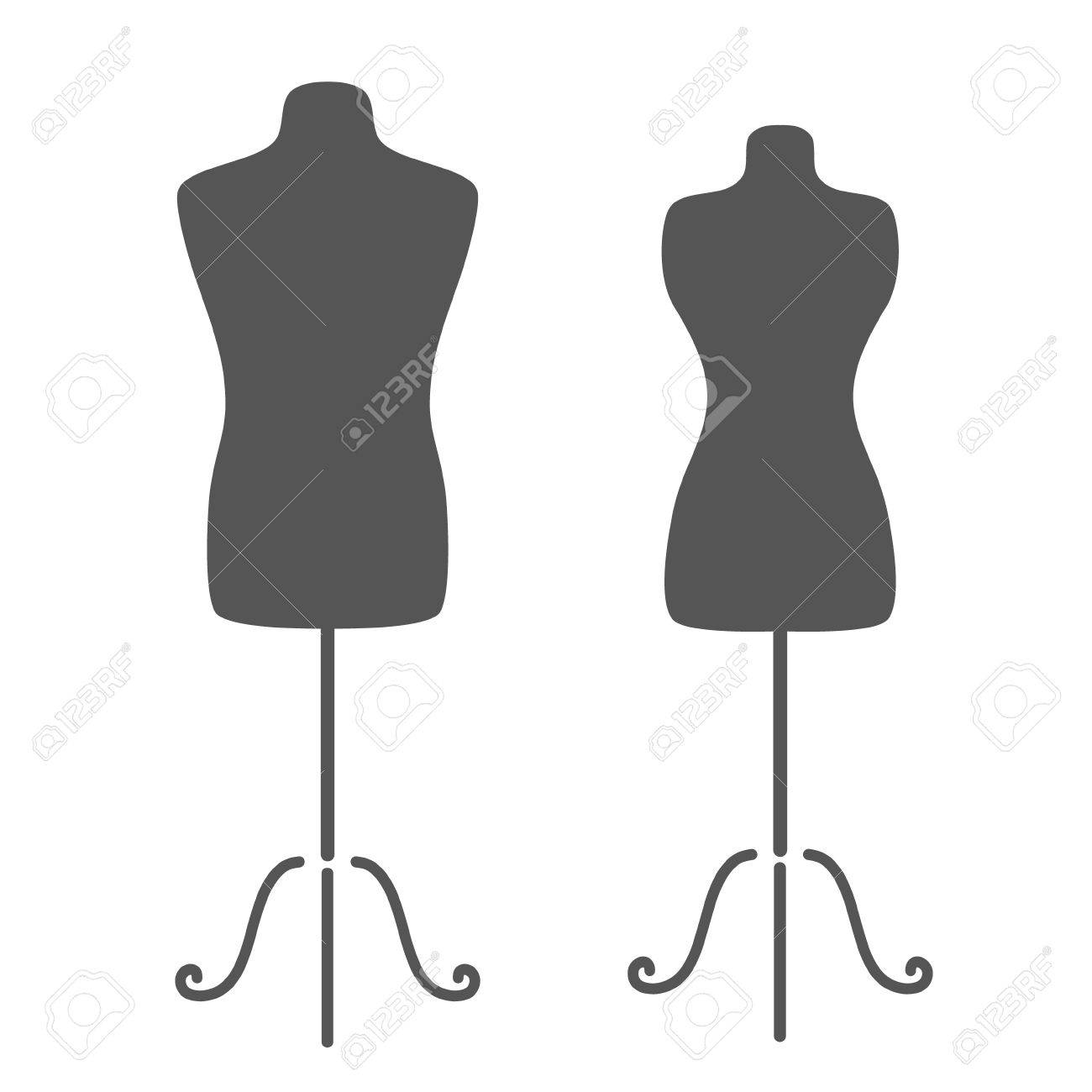 Vintage Tailor\'s Mannequin For Female And Male Body. Design Template ...