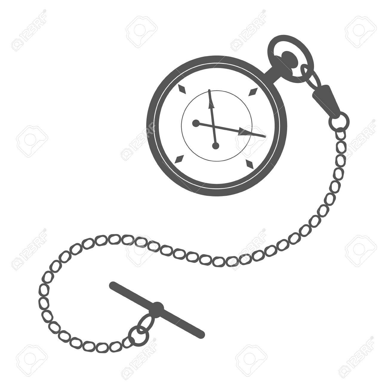 Reloj De Bolsillo Con Cadena. Plantilla De Diseño De La Etiqueta ...