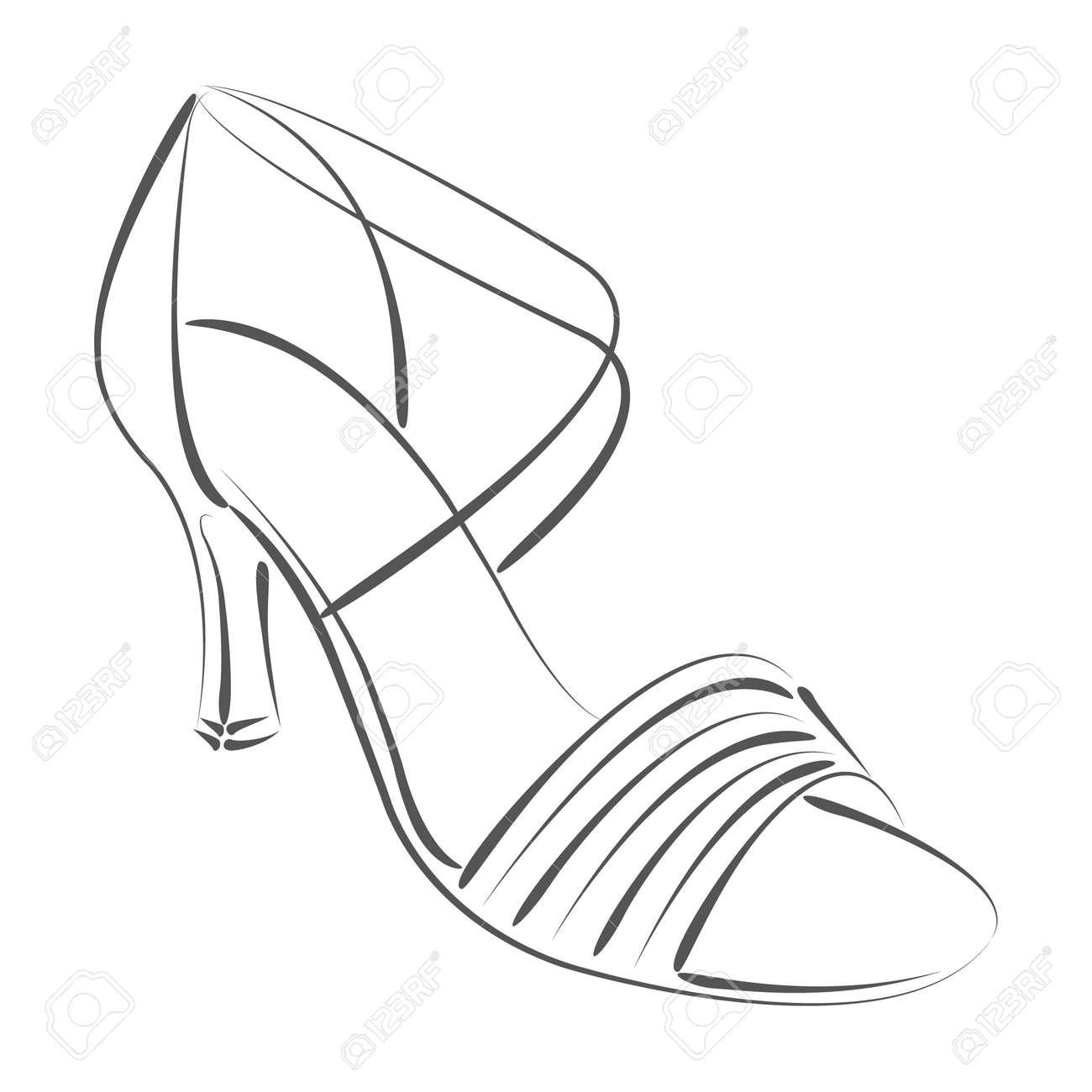 Elegante Skizzierten Damenschuh. Salsa-Tanzschuhe. Design-Vorlage ...