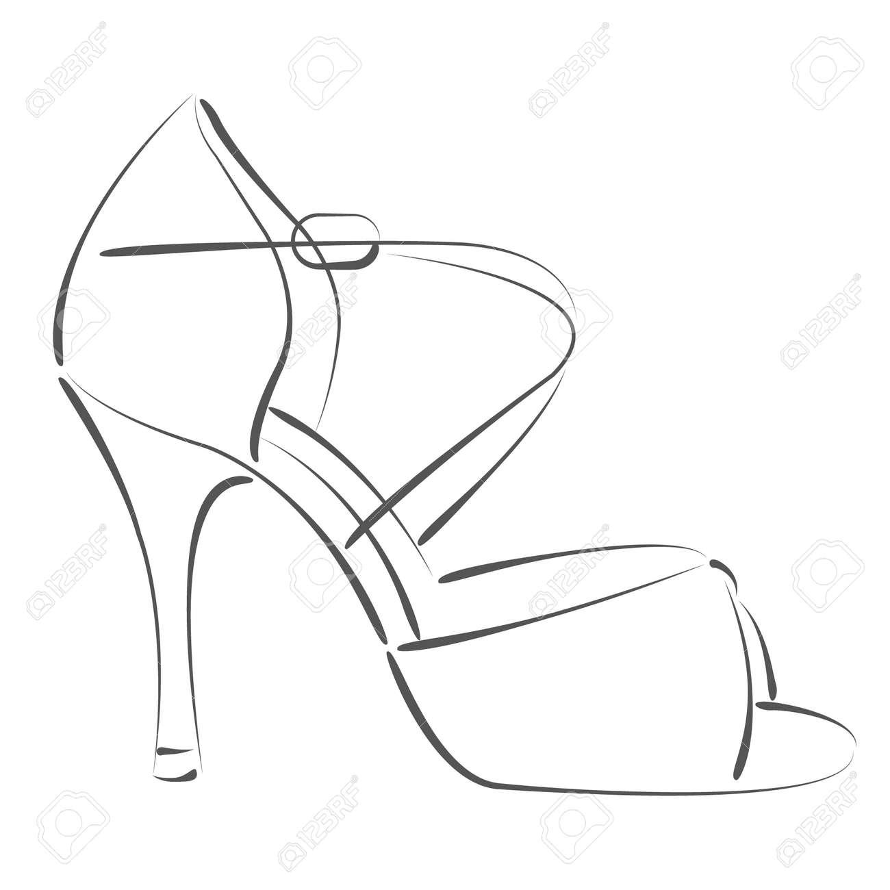Elegant Sketched Woman S Shoe. Salsa Dance Shoes. Design Template ...