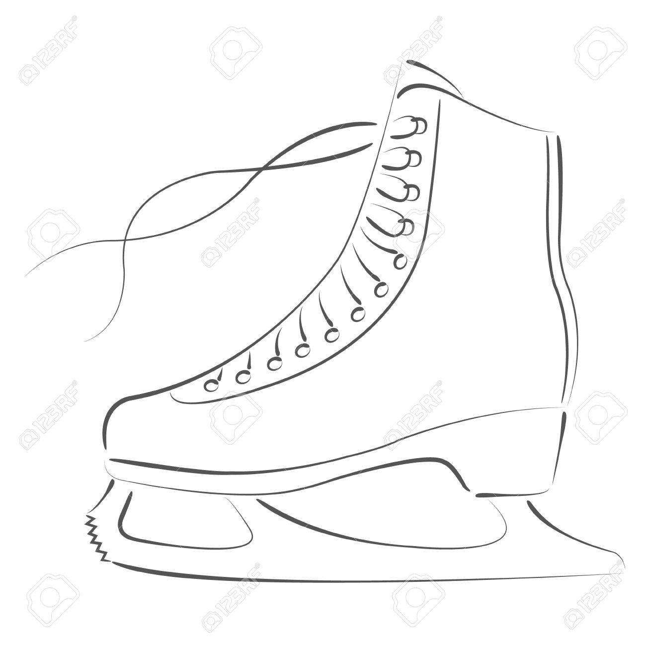 elegant sketched ice skates design template for label banner