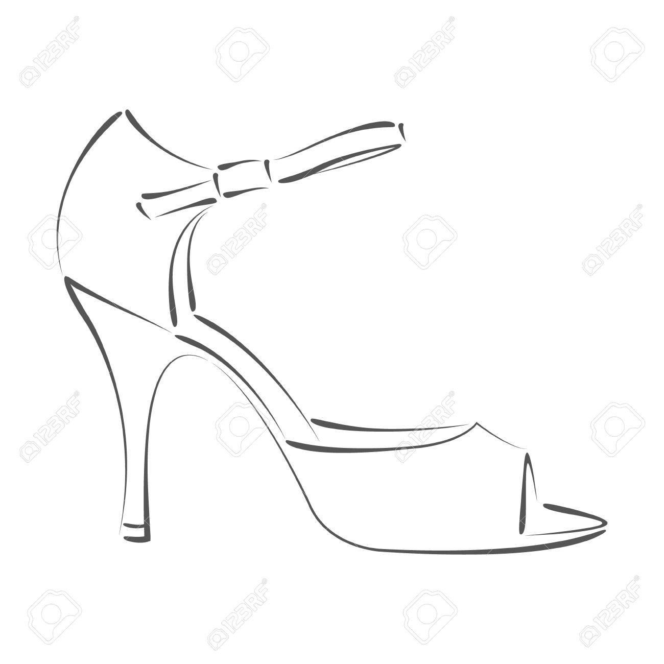 Elegant Sketched Woman S Shoe. Argentine Tango Dance Shoes. Design ...