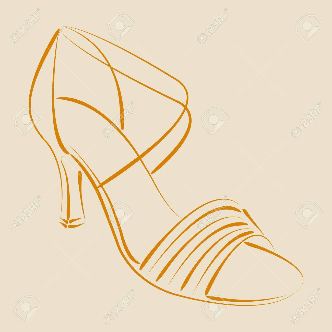 competitive price 99ab9 3106f Elegante scarpa donna abbozzato s. Scarpe di salsa. Sfondo può essere  facilmente rimosso. Modello di progettazione per l'etichetta, banner,  cartolina ...