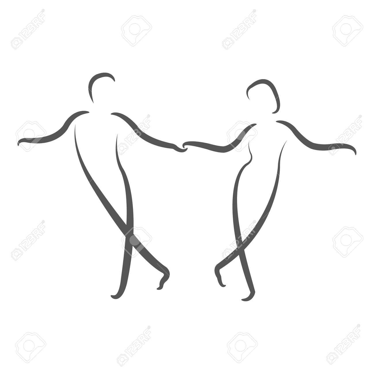 dancing couple logo swing dance design template for label banner or postcard