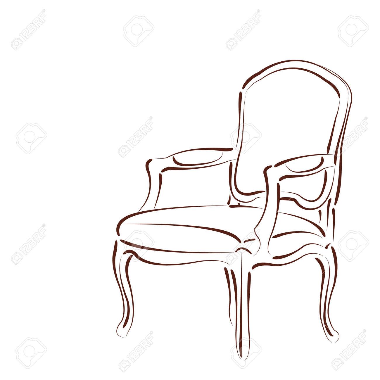 Sessel skizze  Elegante Skizzierten Sessel Isoliert Auf Weißem Hintergrund ...