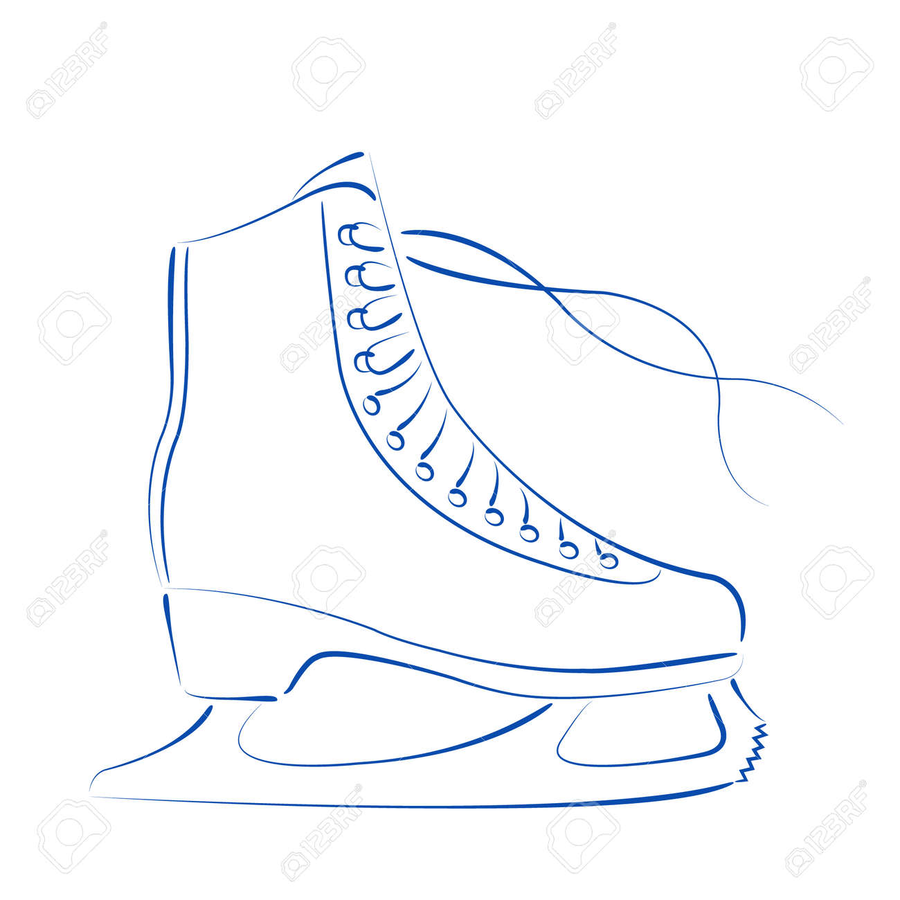 elegant sketched ice skates isolated on white background design