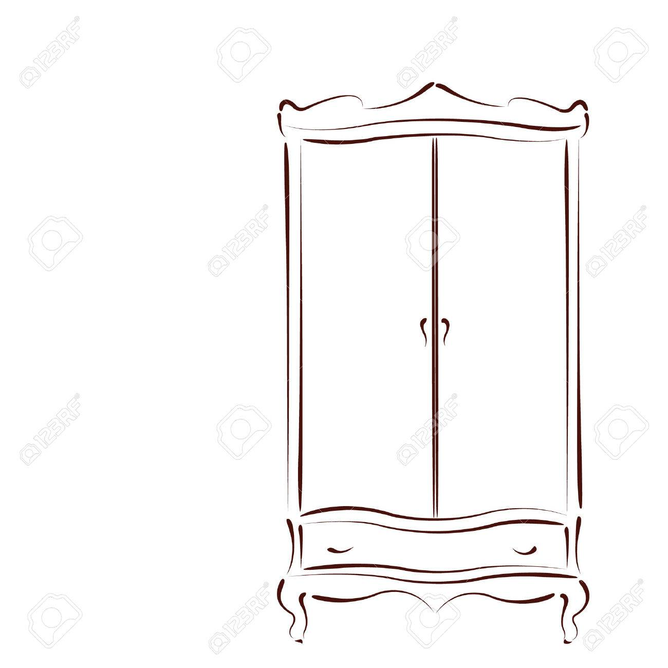 wardrobe template. sketched vintage wardrobe isolated on white background design template for label banner or postcard a
