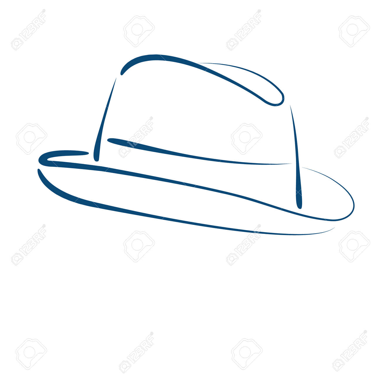 Sketched Man S Fedora Trilby Hat Isolated On White Background ...