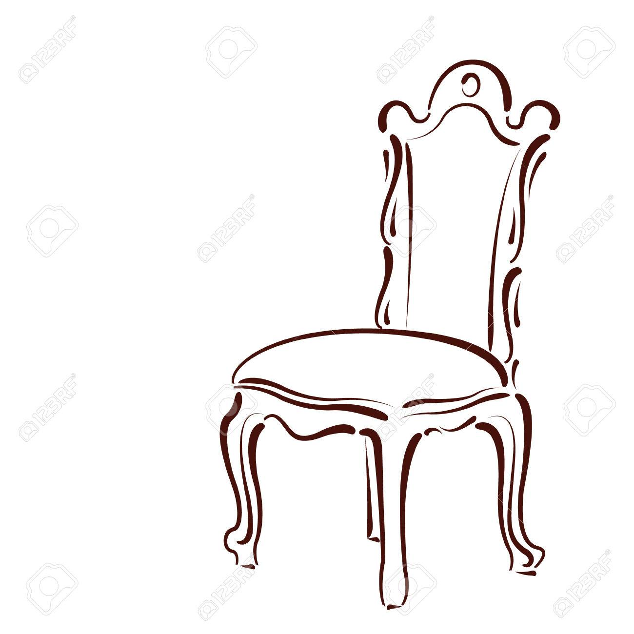 Silla Esbozado Elegante Aislado Sobre Fondo Blanco. Plantilla De ...