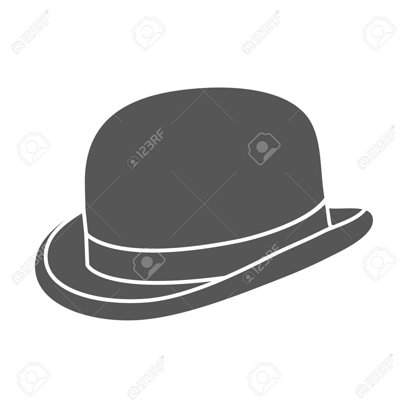 vintage man s bowler hat label design template for label banner