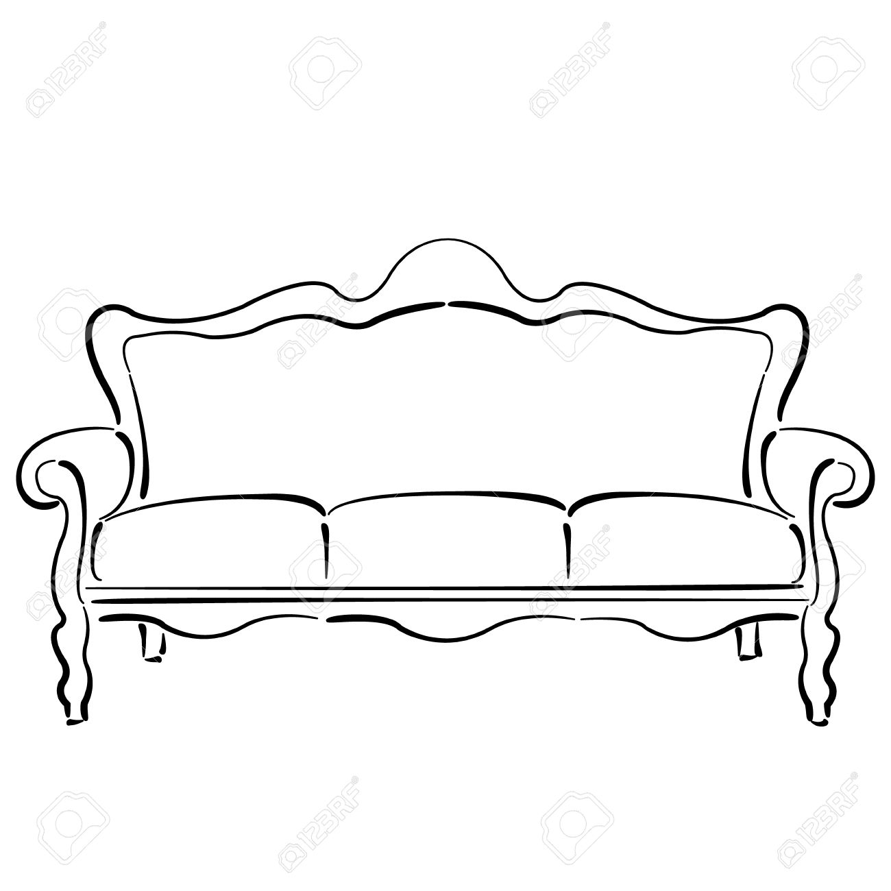 Sketched Sofa Couch Couch Sketch Vector Illustration Royalty Free